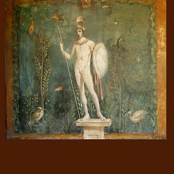Naked, Man, Spear & Shield, Bare Helmeted Warrior, Fresco at Pompeii by TOMSREDBUBBLE