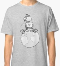 Peace Robot Sitting on Earth - Line Art Classic T-Shirt