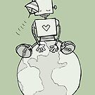 Peace Robot Sitting on Earth - Line Art by jitterfly