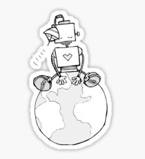 Peace Robot Sitting on Earth - Line Art Sticker