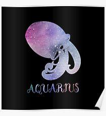 Watercolor Zodiac Aquarius Sign Poster