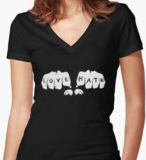 Love Hate Women's Fitted V-Neck T-Shirt