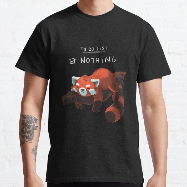 Panda rouge - Liste des activités paresseuses T-shirt classique