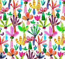 Jungle tropical garden - Fun palms pattern by ninoladesign