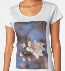Pink Spring - Sunlit Blossoms and Blue Sky, Vertical Women's Premium T-Shirt