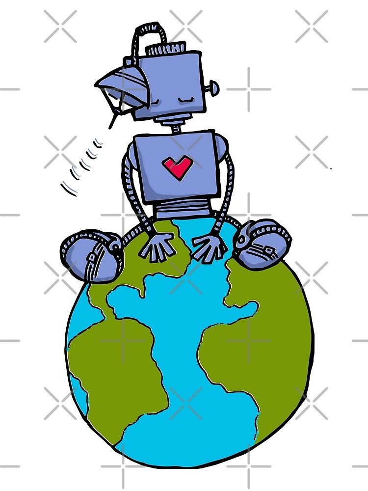 Peace Robot sitting on Earth - color by jitterfly