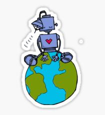 Peace Robot sitting on Earth - color Sticker