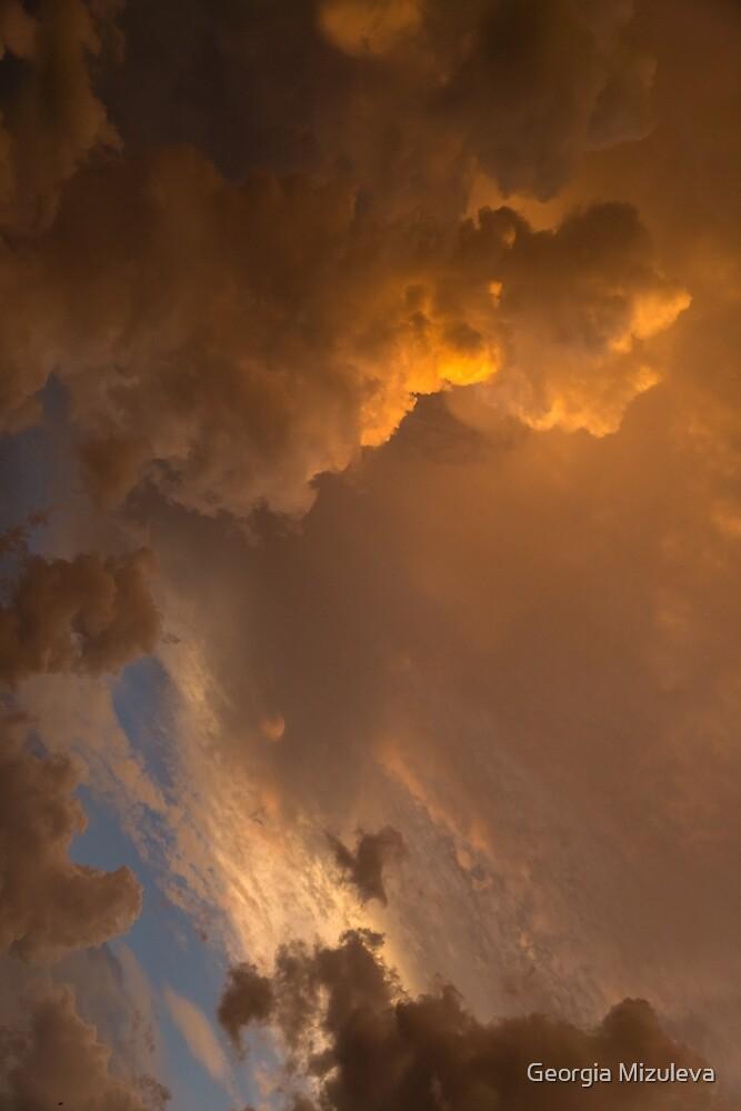 Storm Clouds Sunset - Dramatic Oranges - a Vertical View by Georgia Mizuleva
