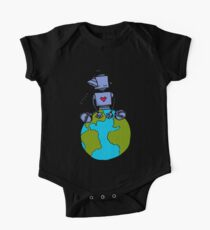 Peace Robot sitting on Earth - color One Piece - Short Sleeve