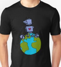 Peace Robot sitting on Earth - color Unisex T-Shirt
