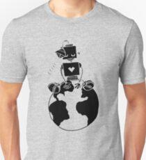 Peace Robot sitting on Earth- black Unisex T-Shirt