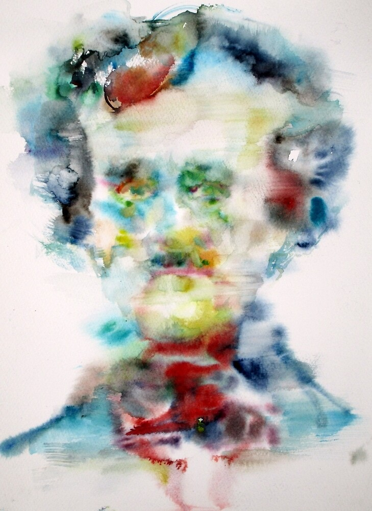 EDGAR ALLAN POE - watercolor portrait by lautir