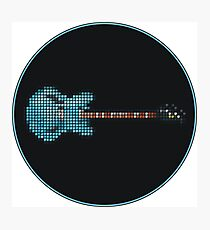Tiled Pixel Blue Gibson DG Guitar Photographic Print