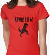 Funny 6th Birthday Dinosaur T Shirt Womens Fitted T-Shirt