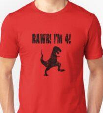 Funny 4th Birthday Dinosaur T Shirt  Unisex T-Shirt