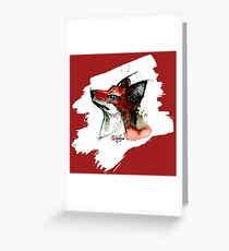 Fox in Red - Animals One - Habu-San Design Greeting Card