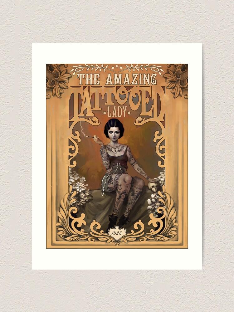 Alternate view of The Amazing Tattooed Lady Art Print