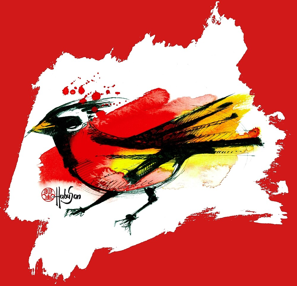 Bird in red - Animals One - Habu-San Design by Habu-San