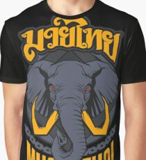 Muay Thai the Sacred Totem Elephant - Thailand Martial Art Graphic T-Shirt