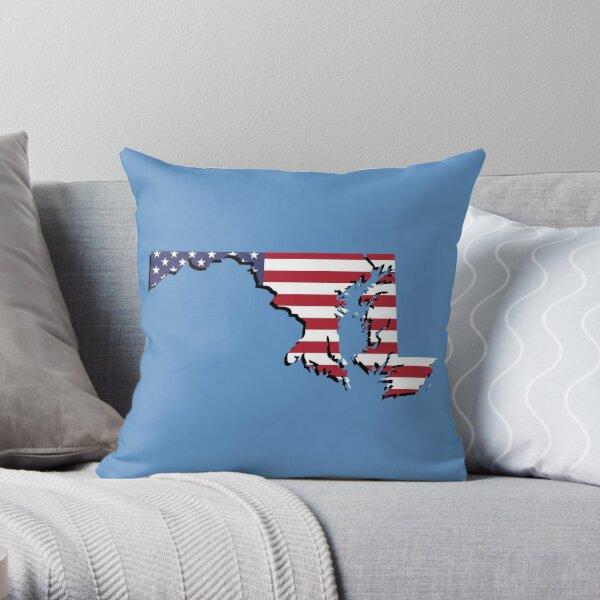 Maryland - USA Flag Throw Pillow