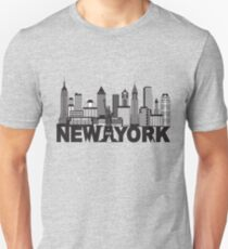 New York City Skyline and Text Black and White Illustration Unisex T-Shirt
