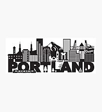 Portland Oregon Skyline and Text Black and White Illustration Photographic Print