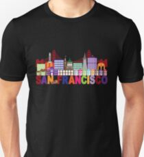 San Francisco Skyline and Text Colorful Illustration Unisex T-Shirt