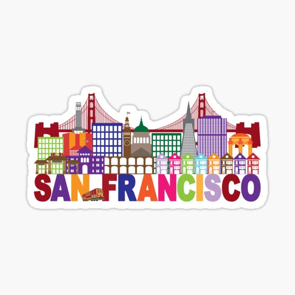 San Francisco Skyline and Text Colorful Illustration Sticker
