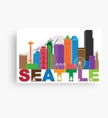 Seattle City Skyline andText Colors Illustration Canvas Print