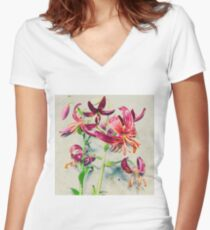 Martagon Lilies Women's Fitted V-Neck T-Shirt