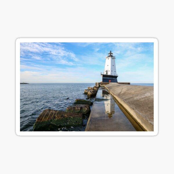 Ludington Pier LIghthouse - Ludington Michigan Sticker