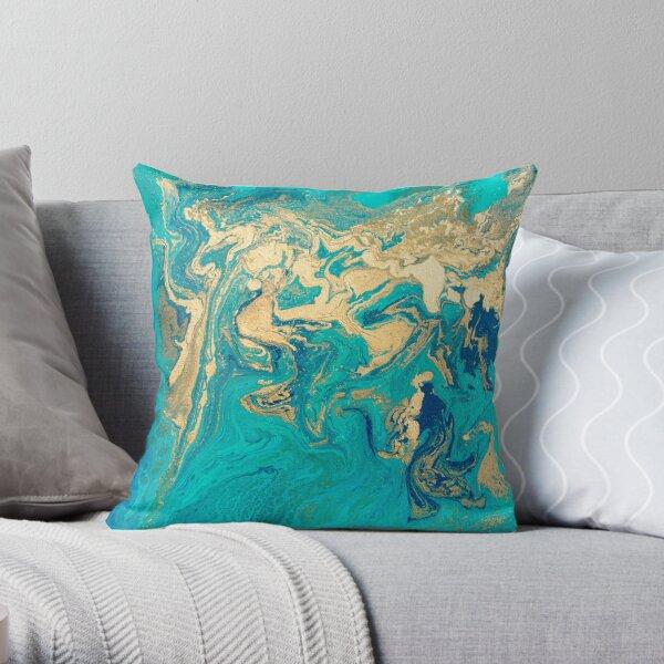 Golden Jade Fluid Painting Throw Pillow