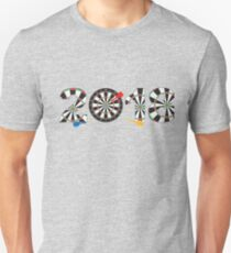2018 Numerals with Dartboards and Darts Illustration T-Shirt