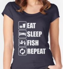 Eat Sleep Fish Repeat Women's Fitted Scoop T-Shirt