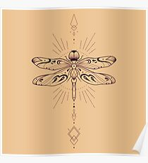 Geometric Dragonfly Poster