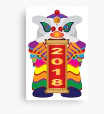 Chinese New Year Lion Dance with 2018 Scroll Illustration Canvas Print