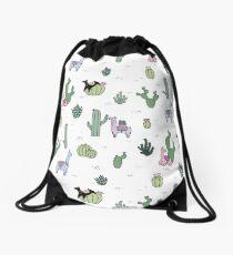 Cacti Llamas Drawstring Bag