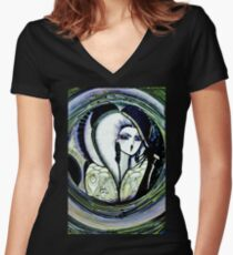 PURPLE, GREEN,  House of Harlequin Women's Fitted V-Neck T-Shirt