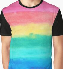 Abstract Brush Strokes Blue Pink & Yellow Graphic T-Shirt