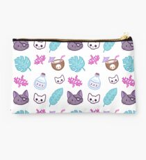 Pirate Cat // White Studio Pouch