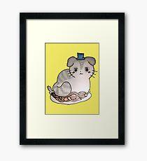 Cat on a dinner date Framed Print