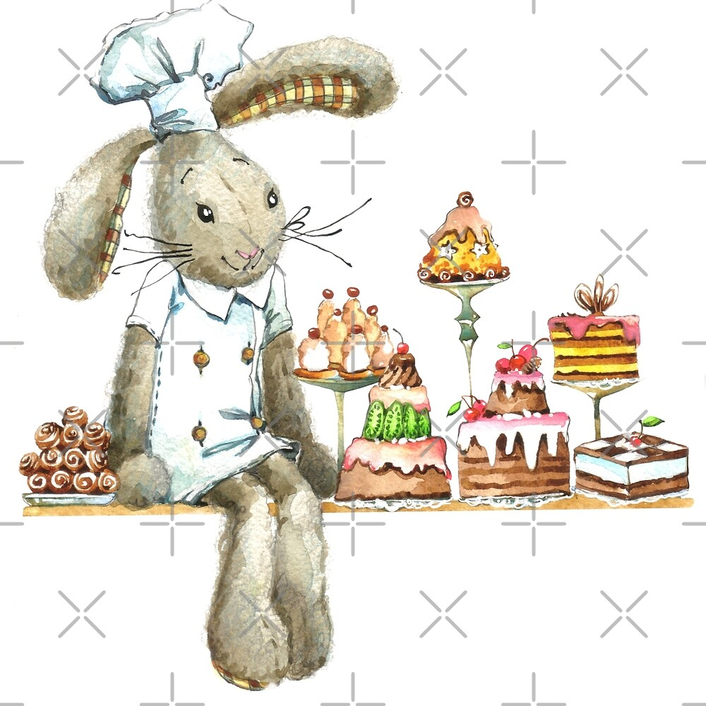 rabbit sweet baker. illustration, watercolor, by Fayankova Alena