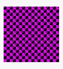 Hot Pink and Black Checkerboard Scales of Justice Legal Pattern Photographic Print