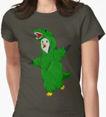 Penguin in a Dino Suit Womens Fitted T-Shirt