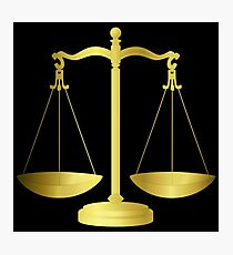 Gold Scales Of Justice on Black keeping law and Order Photographic Print