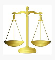 Gold Scales Of Justice on White keeping law and Order Photographic Print