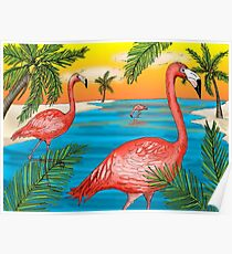 Tropical Flamingos Poster