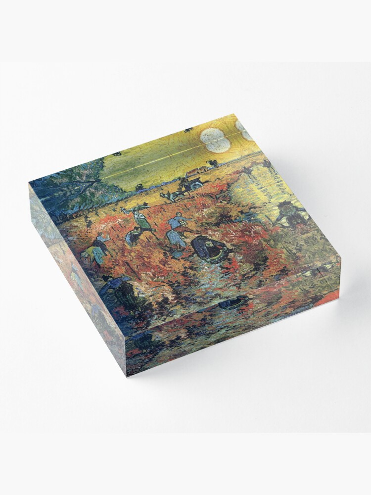 Alternate view of The Red Vineyards Oil Painting on Burlap by Vincent van Gogh Acrylic Block