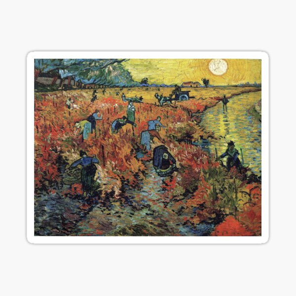 The Red Vineyards Oil Painting on Burlap by Vincent van Gogh Sticker