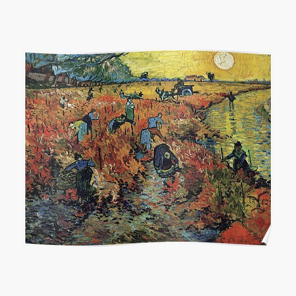 The Red Vineyards Oil Painting on Burlap by Vincent van Gogh Poster